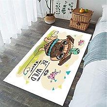 Cartoon Animal Pug Print Carpet Living Room