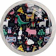 Cartoon Animals 4 Pack Glass Drawer Knobs- Round