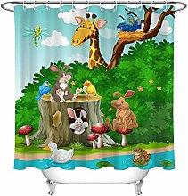 Cartoon Animals Jungle Mushroom Bathroom