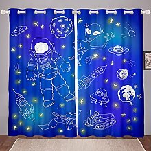 Cartoon Astronaut Curtain for Bedroom Child Space