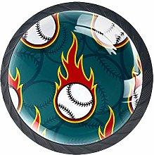 Cartoon Baseball Crystal Door Knobs Glass