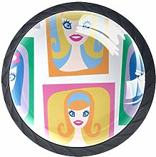 Cartoon Beautiful Girl Round Knob Metal Cabinet