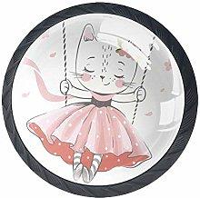 Cartoon Beautiful Kitten Crystal Drawer Handles