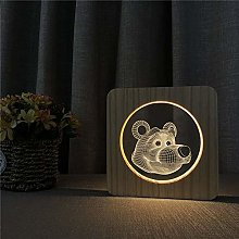 Cartoon Big Eye Bear Head 3D LED Acrylic Night