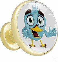 Cartoon Bird Gold Cabinet knobs Metal Round