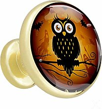 Cartoon Black Owl Drawer pulls Round Solid Metal
