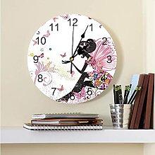 Cartoon Butterfly Girl Printed PVC Wall Clock
