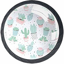Cartoon Cactus 4 Pieces Bar Knobs Round Kitchen or