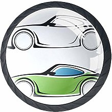 Cartoon Car Crystal Drawer Handles Furniture Glass