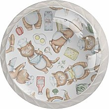 Cartoon cat 4 Pack Round ABS Drawer Knob,