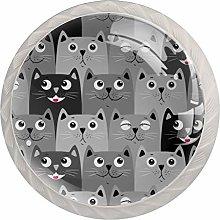 Cartoon cat Gray White Drawer Handles Furniture