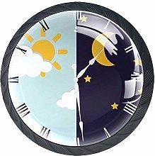 Cartoon Clock Crystal Drawer Handles Furniture