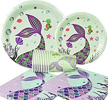 Cartoon Cut Disposable Tableware Mermaid Party