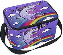 Cartoon Dab Unicorn Disco Insulated Lunch Bag,