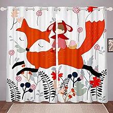Cartoon Fox Curtain for Bedroom Child Red Fox