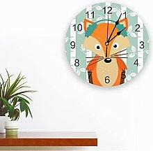 Cartoon Fox White Birch PVC Wall Clock Modern