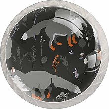Cartoon Gray Wolf 4 Pieces Crystal Glass Wardrobe