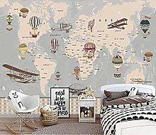 Cartoon Gray World Animal Map Childrens Room Mural