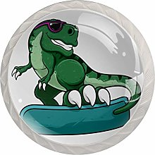 Cartoon Green Dinosaur 4 Pieces Crystal Glass