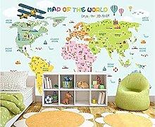 Cartoon Green World Animal Map Childrens Room