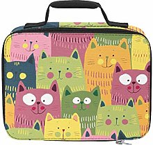 Cartoon Green Yellow and Pink Cats Insulated