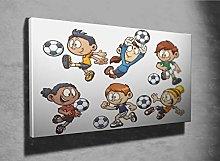 Cartoon Kids Playing Soccer Photo Canvas Print