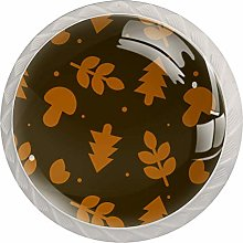 Cartoon Leaves 4 Pack Glass Drawer Knobs- Round