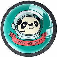 Cartoon Panda Astronaut Green Cabinet Door Knobs