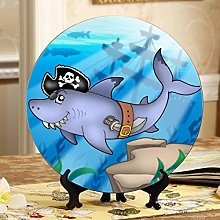 Cartoon Pirate Shark with Shipwreck Decorations