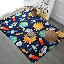 Cartoon Planet Rocket Large Carpets Crystal Fleece