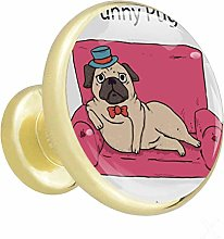 Cartoon Pug Sofa Cabinet knobs Gold knobs for