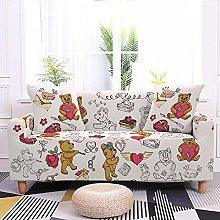 Cartoon Puppy Cat Pattern Sofa Cover 4 Seasons