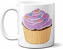 Cartoon Purple Sprinkles Cupcake 15oz Ceramic Mug