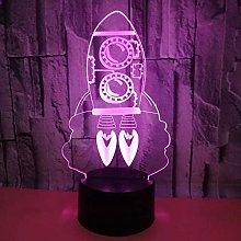 Cartoon Rocket Shape 3D LED Multicolor USB Table
