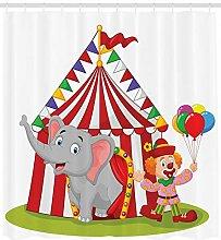 Cartoon Shower Curtain Circus Elephant Tent Print