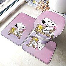 Cartoon Snoopy Bathroom Rugs Set Non-Slip Water
