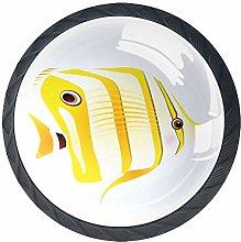 Cartoon Tropical Fish Yellow 4 Pieces Crystal