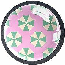 Cartoon Umbrella Pink 4 Pieces Crystal Glass