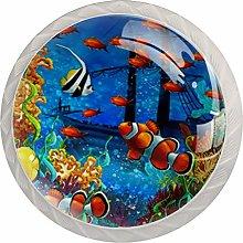 Cartoon Underwater Tropical Fish White Crystal