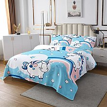 Cartoon Unicorn Quilted Coverlet Cute Animal