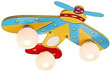 Cartoon Wooden Airplane Child Ceiling Lamps