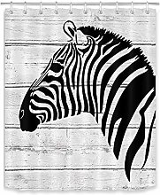 Cartoon Zebra Pattern Fabric Shower Curtain