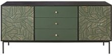 Carved Solid Green Mango Wood 2-Door 3-Drawer