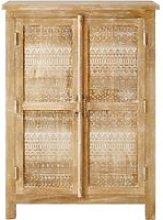 Carved Solid Mango Wood 2-Door Cabinet