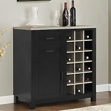 Carver Wooden Bar Cabinet In Black And Weathered