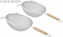 Casa Haus, Soup Strainer Double mesh with Wooden