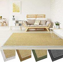 casa pura Natural Sisal Rug | Premium Quality Sisal Carpet with Tiger-Eye Structure | Cotton Colour Border (Nature, Cappuccino Border, 200x290 cm)
