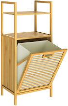 Casaria - Bamboo Laundry Basket Shelf Bathroom