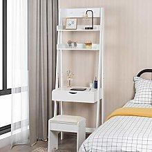 CASART. Ladder Desk with 2 Shelf & Tabletop, Flip