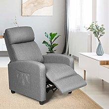 CASART Recliner Armchair, PU Leather/Linen Fabric
